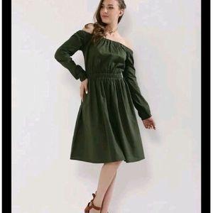 KOOVS Olive Green Off-shoulder Dress